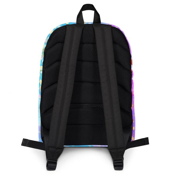 Funky Confetti Water Resistant Polyester Backpack With Laptop Pocket Back View