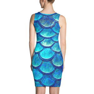 Blue Mermaid Scales Body Con Dress