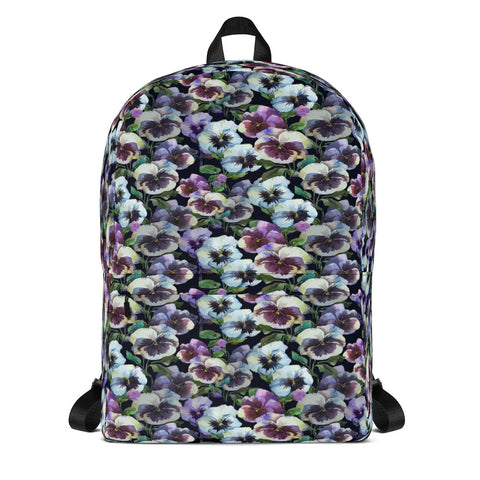 Floral Pansy Backpack With Laptop Pocket