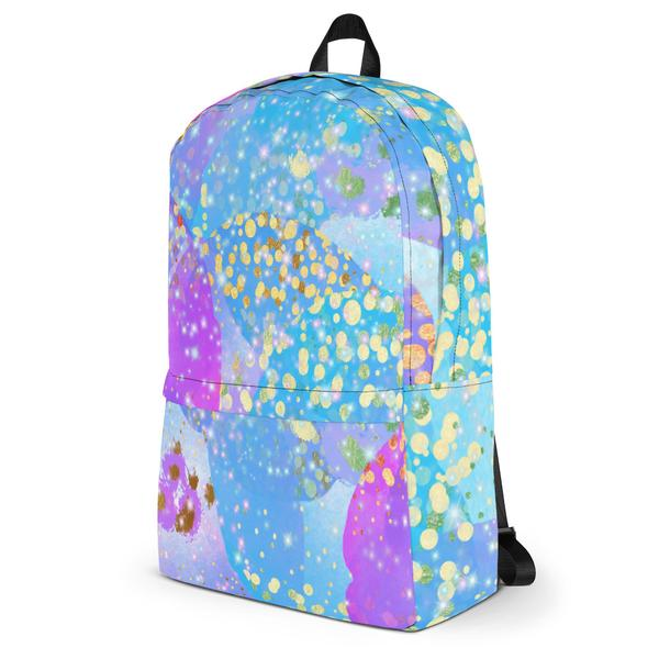 Funky Confetti Water Resistant Polyester Backpack With Laptop Pocket Side Angle View Right