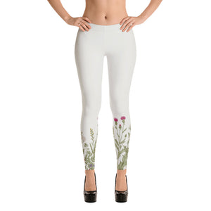 Beige Floral Leggings