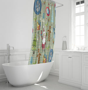 Mod and Merry Shower Curtain, Retro Mid Century Modern Christmas Decor