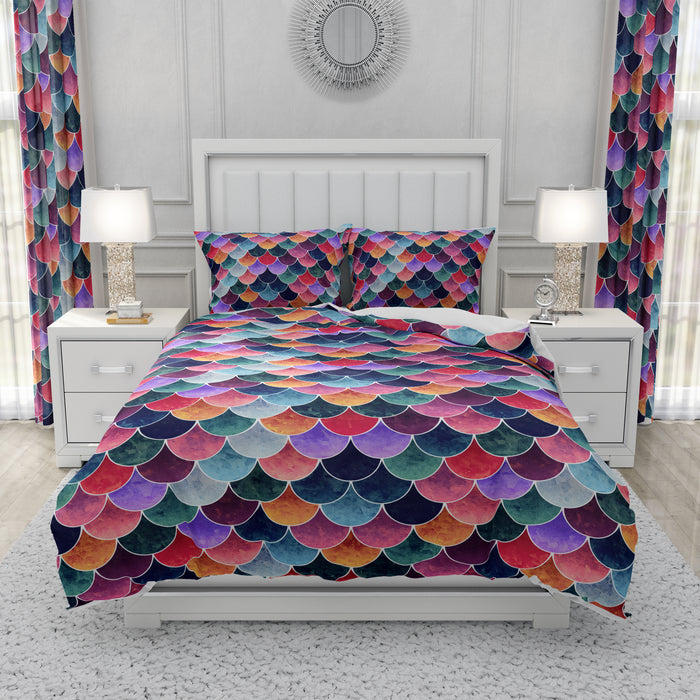 Multicolor Scales Mermaid Bedding