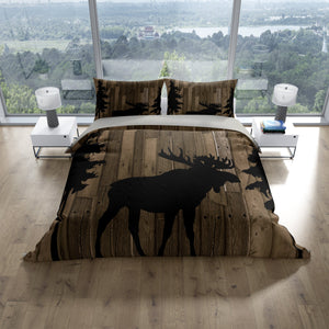 Rustic Moose Bedding Set