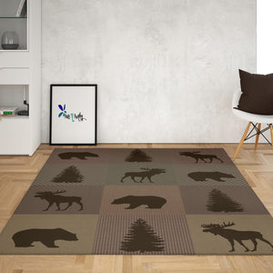 Brown Woodland Plaid Moose Rug