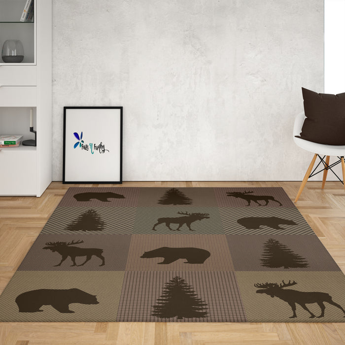 Brown Woodland Plaid Rug