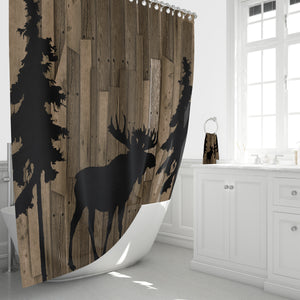 RUSTIC WOODLAND MOOSE SHOWER CURTAIN