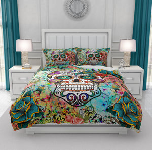 Teal, Orange and Blue Abstract Sugar Skull Bedding
