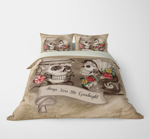 Always Kiss Me Goodnight Beige Forevermore Skulls Bedding