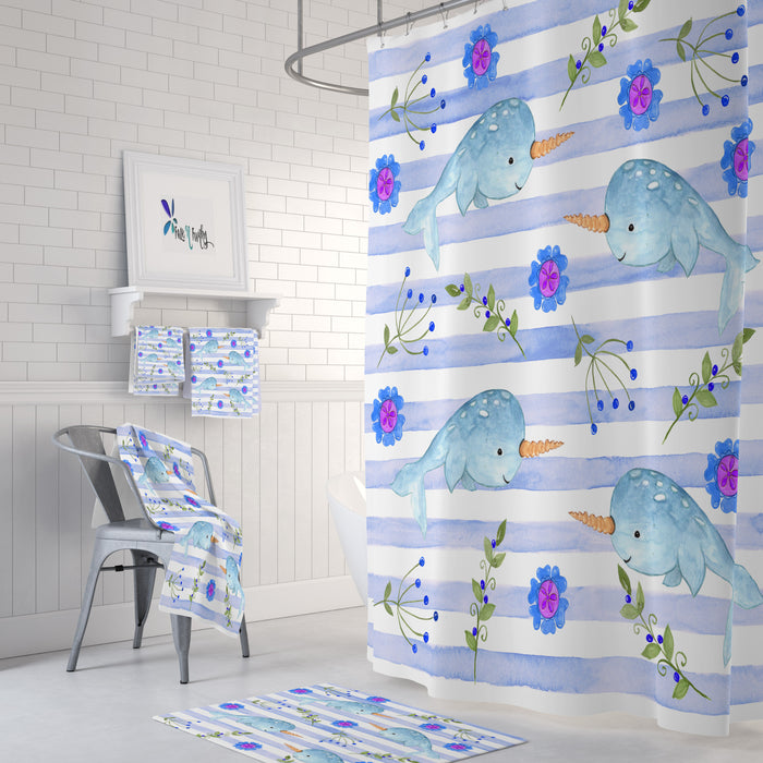 Watercolor Narwhal Shower Curtain