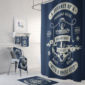 Nautical Adventure Shower Curtain Optional Towels Mat