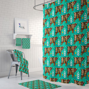 Green Nordic Bear Shower Curtain