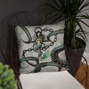 Octopus and Mermaid Steampunk Throw Pillow