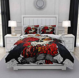 Crows and Roses Gothic Skull Bedding