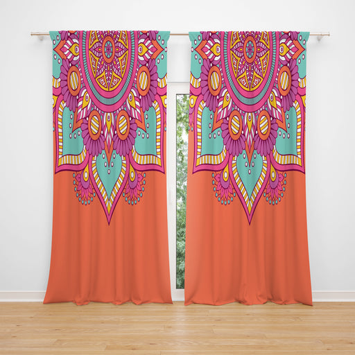 Window Curtains Orange Boho Mandala