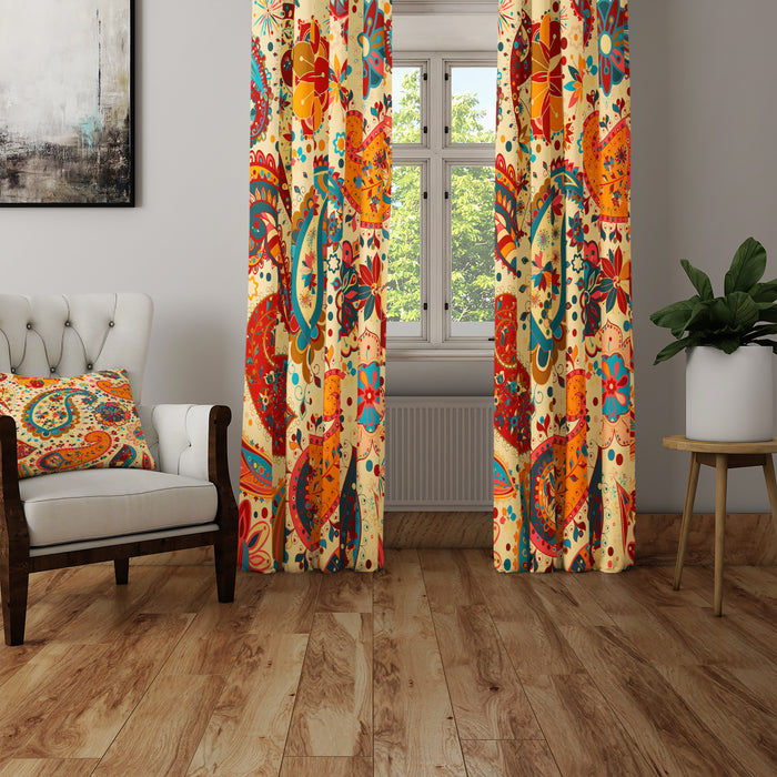 Hippie Paisley Bold Sheer and Blackout Window Curtains