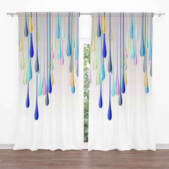 Falling Rain Sheer and Blackout Window Curtains