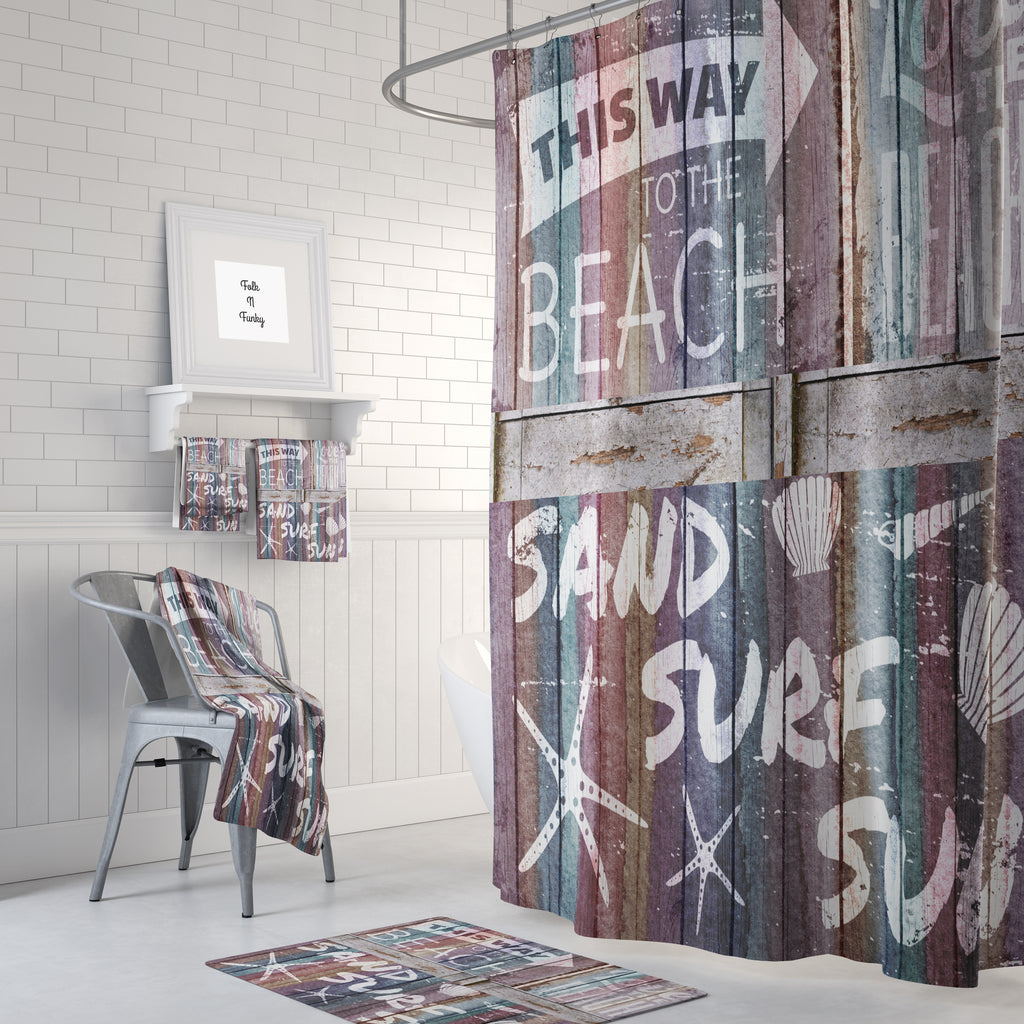 The Beach Pastel Rustic Wood Shower Curtain, Bath Mat, Bath and Hand Towels