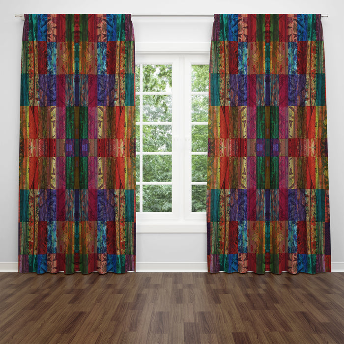 Boho Faux Patchwork Window Curtains