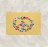 Floral Peace Sign Bath Mat
