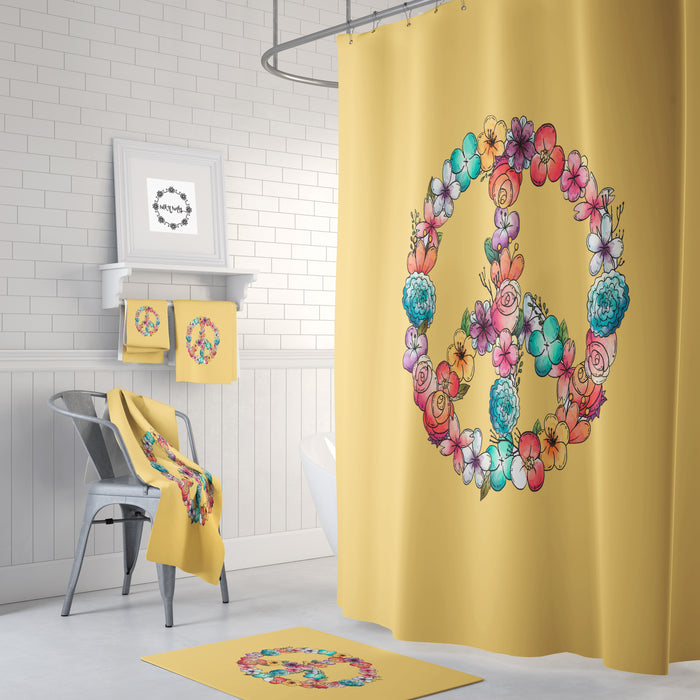 Floral Peace Sign Shower Curtain Bath Mat Hand Towels