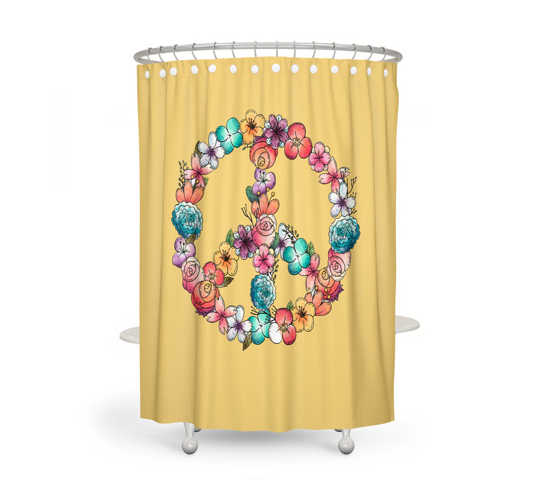 Floral Peace Sign Shower Curtain