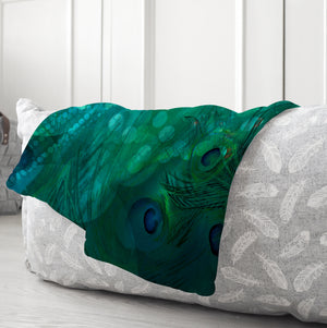 Peacock Abstract Sherpa Fleece Blanket