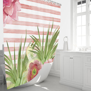 Pink Cactus Succulent Shower Curtain, Floral Bathroom Decor