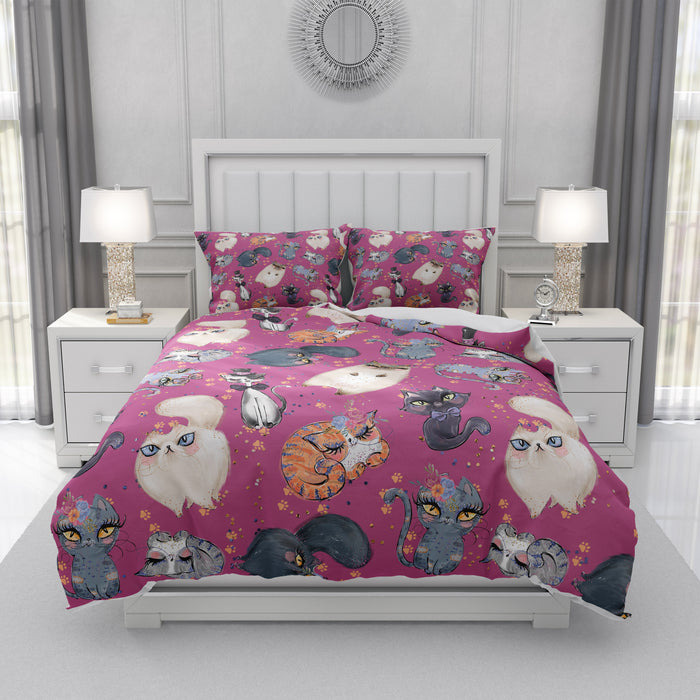Pink Cats and Roses Bedding