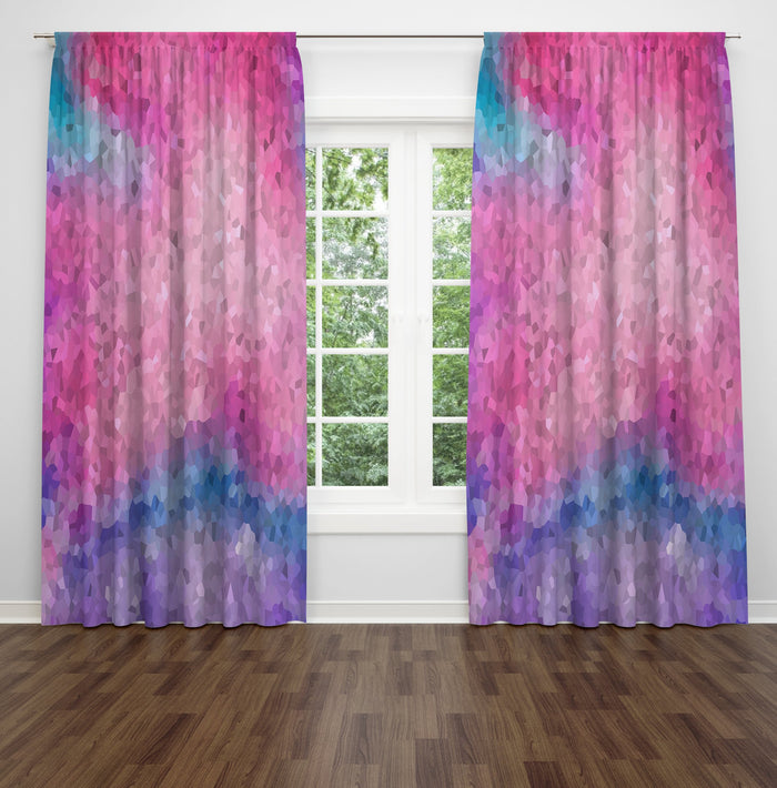 Falling Gems Boho Sheer and Blackout Window Curtains