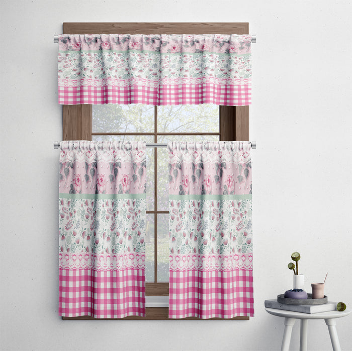 Granny Chic Pink Floral Cafe Style Curtains
