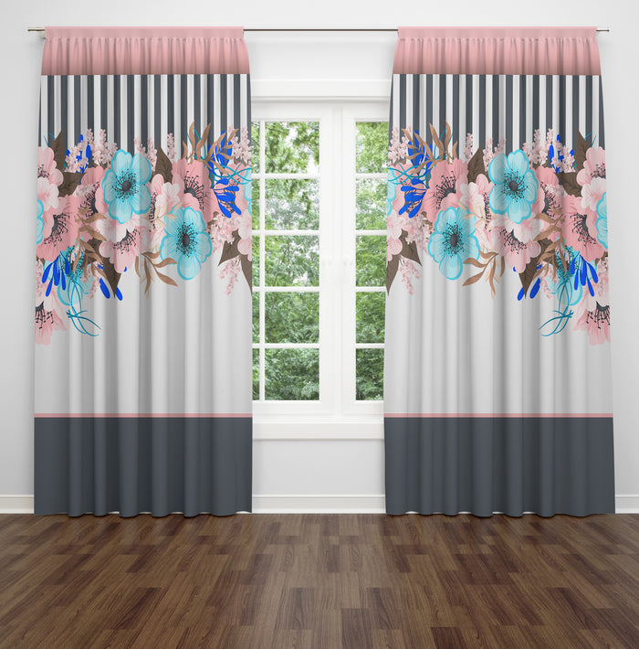 Classic Floral Window Curtains Gray and Pink