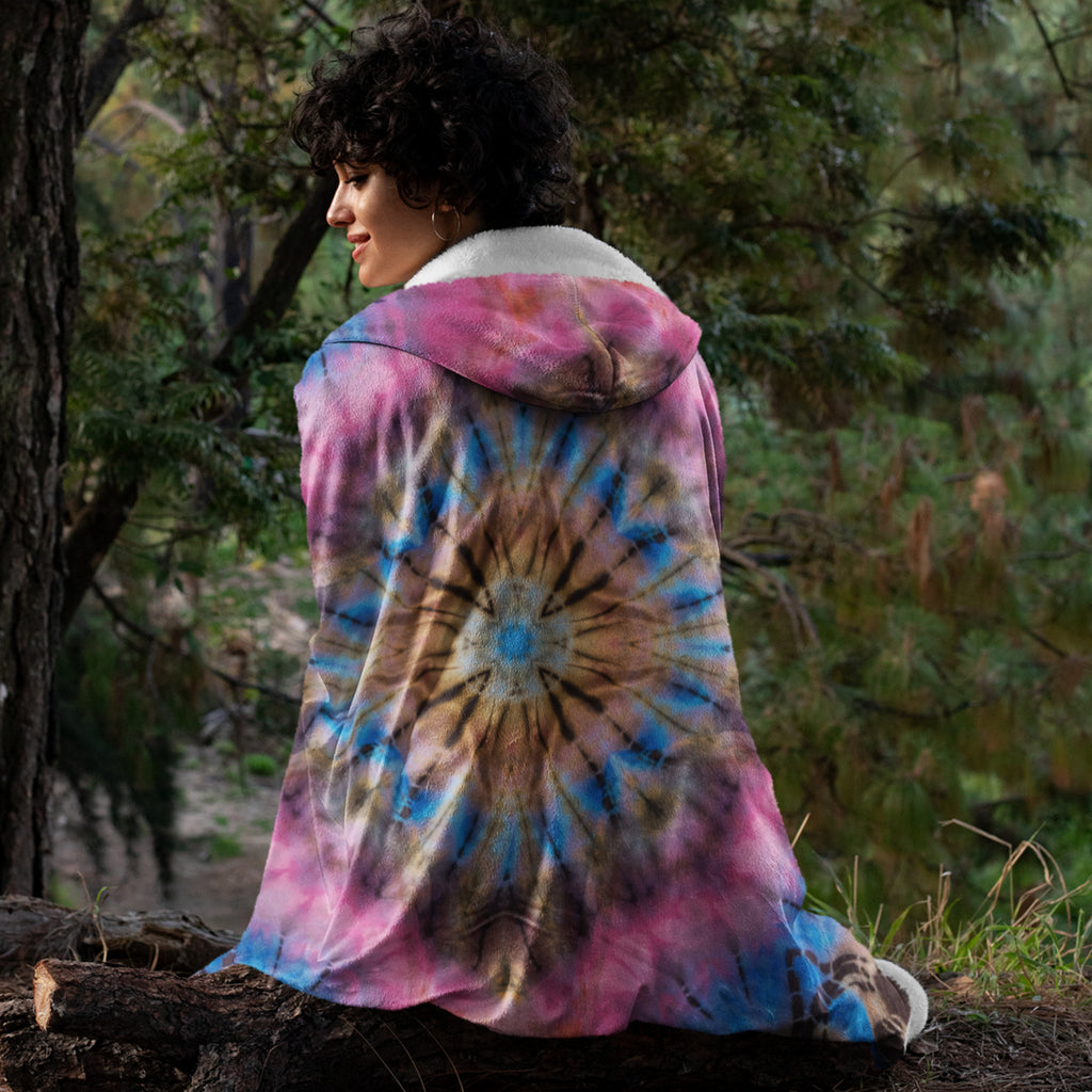 "Pink Tie Dye Hooded Sherpa Fleece Blanket, Large 60"" x 80"""