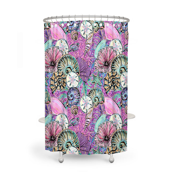 Pink Sealife Nautical Shower Curtain Optional Accessories