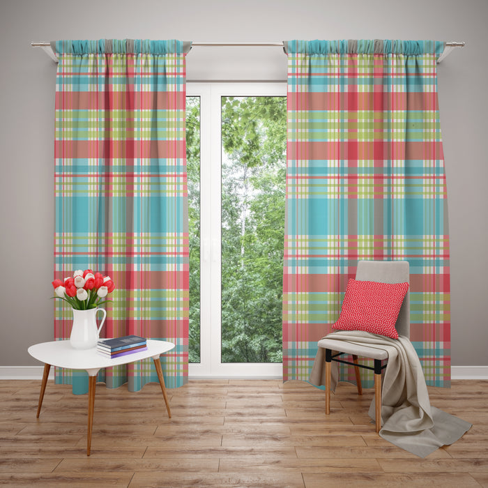 Plaid Window Curtains, Turquoise and Coral