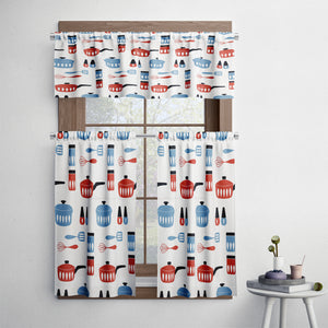 Mid Century Modern Retro Pots and Pans Cafe Style Curtains