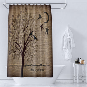 Primitive Shower Curtain,  Grow Old With Me