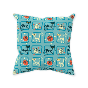 Retro Mid Century Cat Throw Pillow