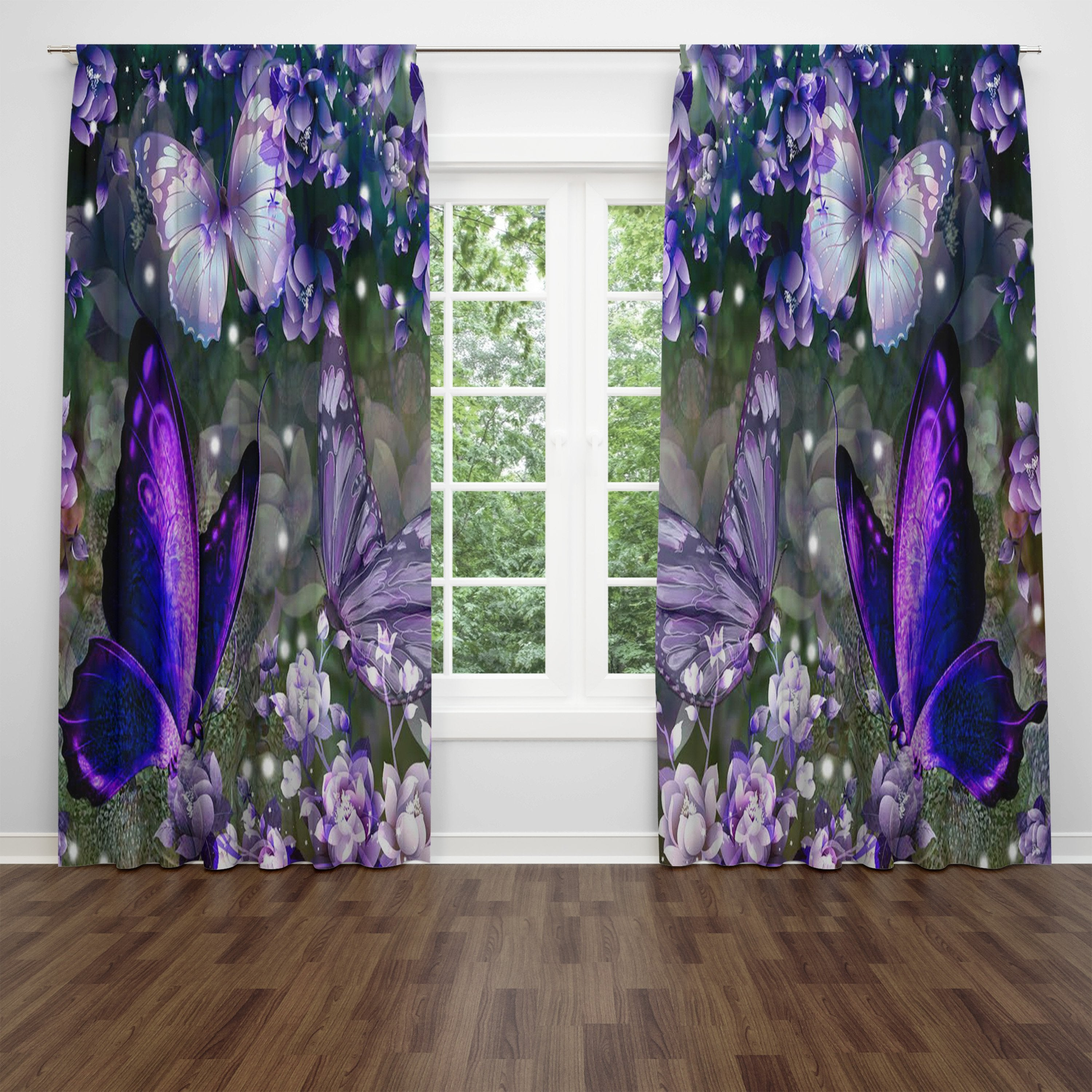 Purple Butterfly Window Curtains