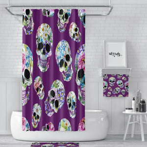 Purple Floral Sugar Skulls Day Of The Dead Shower Curtain, Bath Mat, Bath & Hand Towels