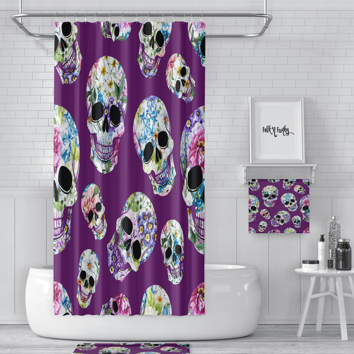 Purple Floral Sugar Skulls Day Of The Dead Shower Curtain Bath Mat