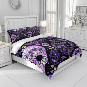 Black Purple Floral Sugar Skull Bedding