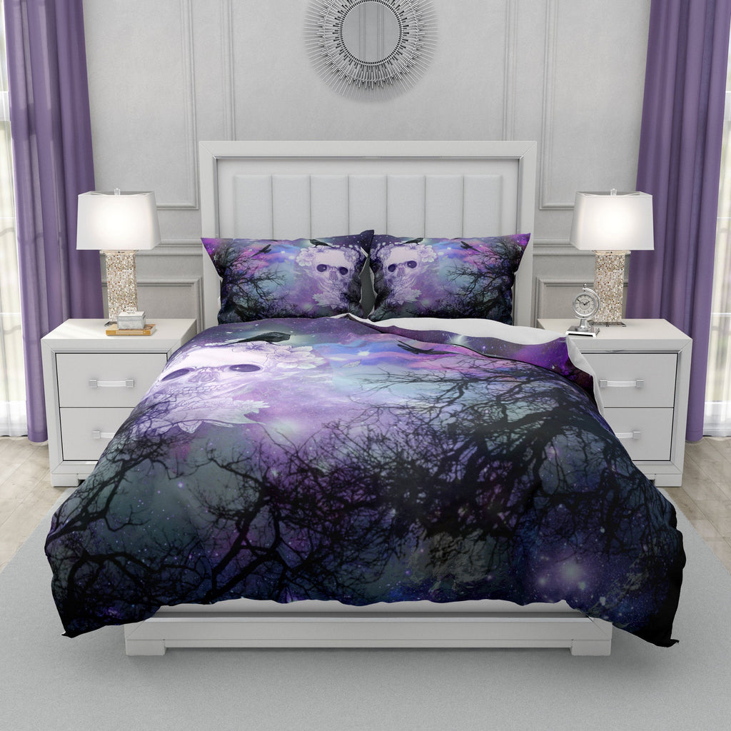 Purple Twilight Trees Crows Gothic Skull Bedding