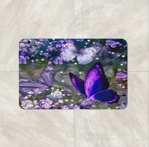 The Purple Pop Butterflies bath Mat