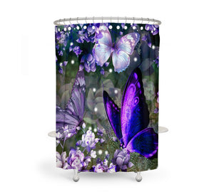 The Purple Pop Butterflies Shower Curtain