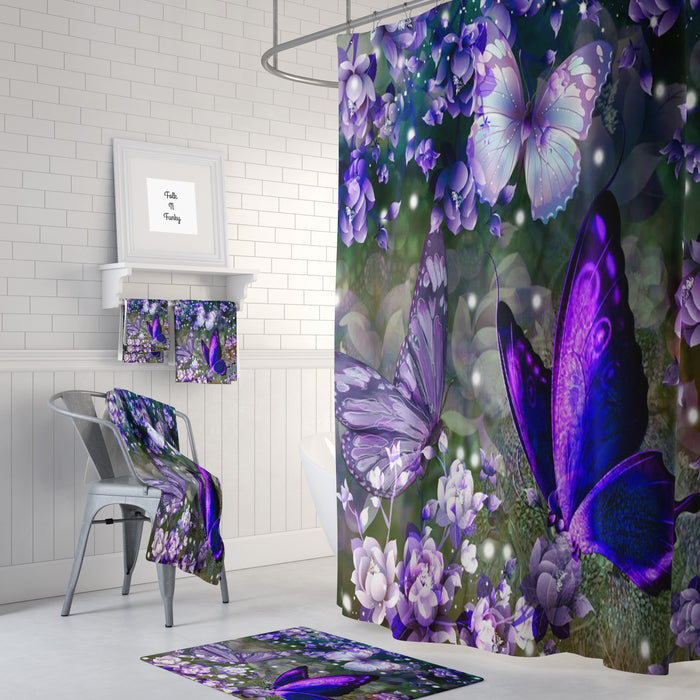 Purple Pop Butterflies Shower Curtain