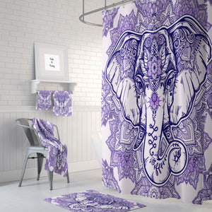 The Boho Chic Purple Mandala Elephant Shower Curtain,