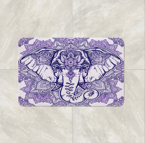 The Boho Chic Purple Mandala Elephant Bath mat