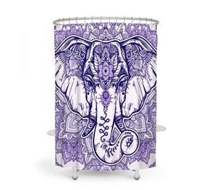 Boho Chic Purple Elephant Shower Curtain
