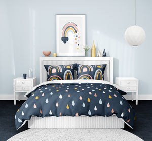 Navy Raindrops and Rainbows Bedding Set